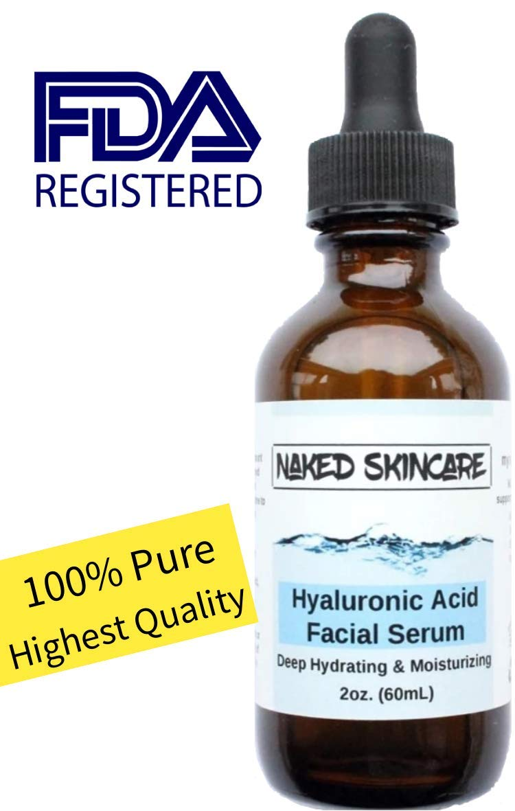 Naked Skincare, Hyaluronic Acid Serum 2oz, 100% Pure-Highest Quality, FDA Registered, Anti-Aging Serum, Intense Hydration, Fragrance-free, Alcohol-free, Paraben free, for face by Naked Skincare