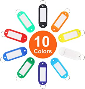 40 Pack Tough Plastic Key Tags with Split Ring Label Window, Assorted Colors