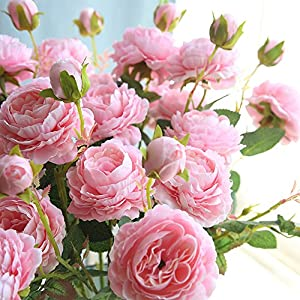 Rm.Baby 1Pcs Artificial Fake Flowers Rose Peony Floral Real Touch Cloth Material Arrangement Bouquets Bridal Hydrangea Home Garden Decor Room Office Centerpiece Party Wedding Decor 13