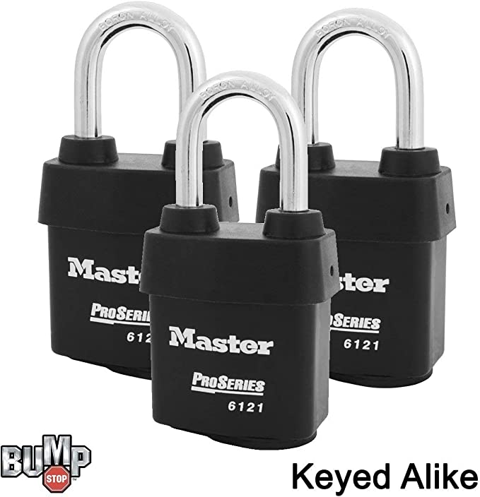 Master Lock  - 3NKA-3 w// BumpStop Technology 3 Keyed Alike Padlocks