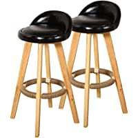 4X Leather Swivel Bar Stool Kitchen Stool Dining Chair Barstools Black Black Leather