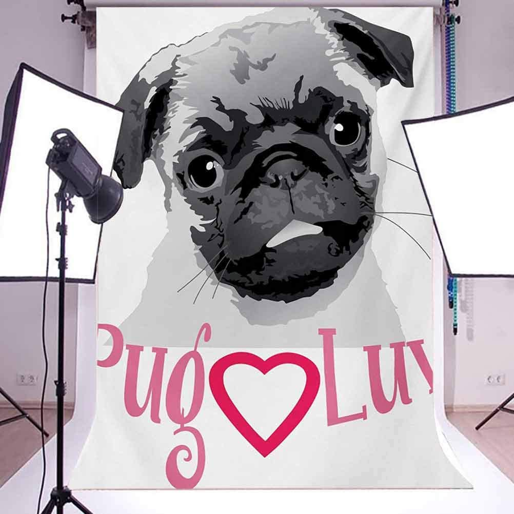 Pug 6.5x10 FT Backdrop Photographers,Pug Love Image Cute Grey Toned Drawing of a Dog Pet Animal Fun Bonding Print Background for Baby Birthday Party Wedding Vinyl Studio Props Photography