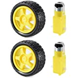 2 Sets DC Gear Motor and Tire Wheel for DC 3V-6V Arduino Smart Car Robot Projects (Yellow) TE696 **