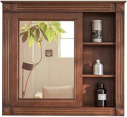 WYKDL Madera de Pared del gabinete de Almacenamiento con Espejo de baño y arrastrando la Puerta de Granero Brown rústico gabinetes de baño Muebles de baño de Madera sólida Espejo de baño: