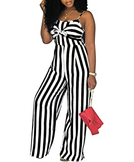 df54d77a885 Women s Spaghetti Strap Striped High Waist Wide Leg Long Pants Palazzo Jumpsuit  Rompers