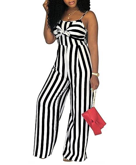 c3b1da601b97 Women s Spaghetti Strap Striped High Waist Wide Leg Long Pants Palazzo Jumpsuit  Rompers (S
