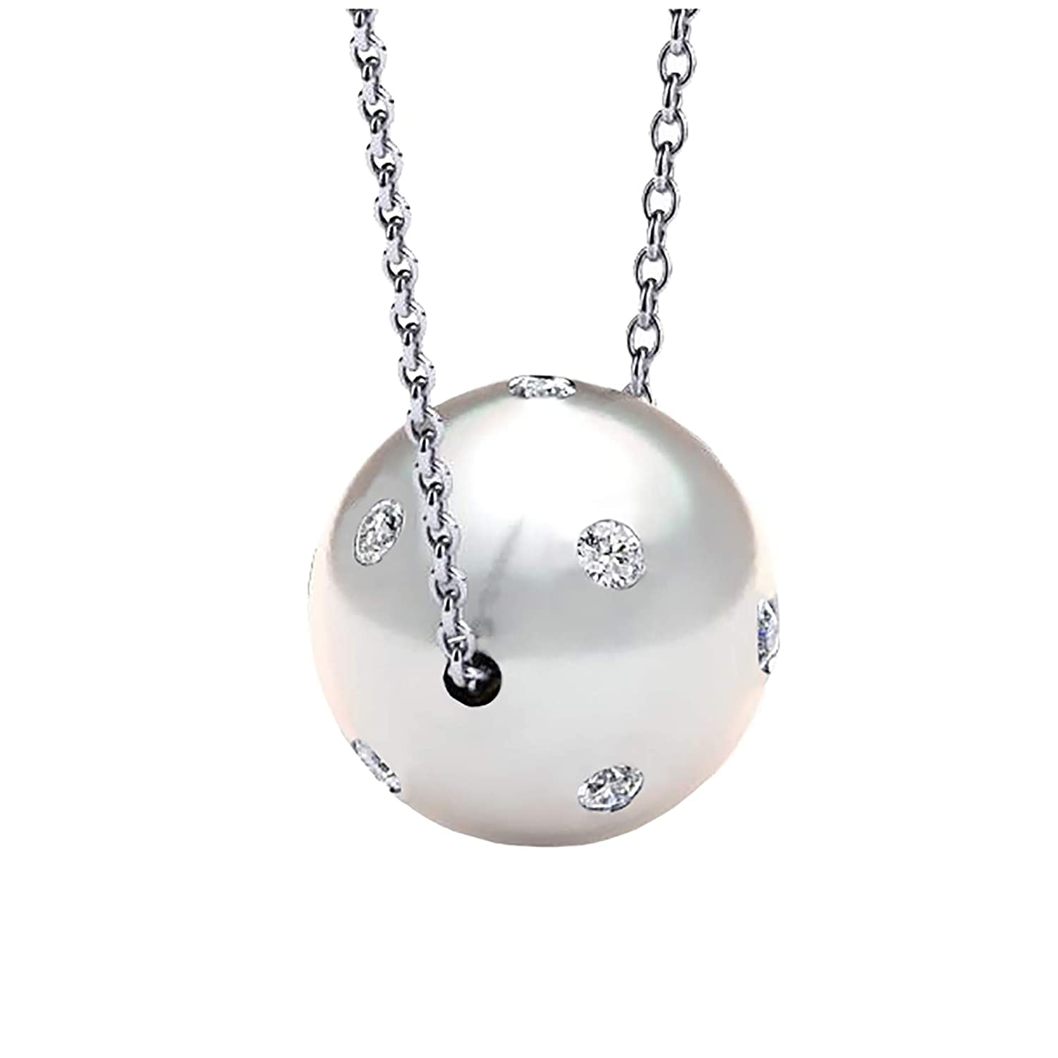 AUBREY LEE Simulated Pearl with Crystal Ball Pendant for Women on 18 Cable Chain Necklace for Women in Rhodium Plated Brass