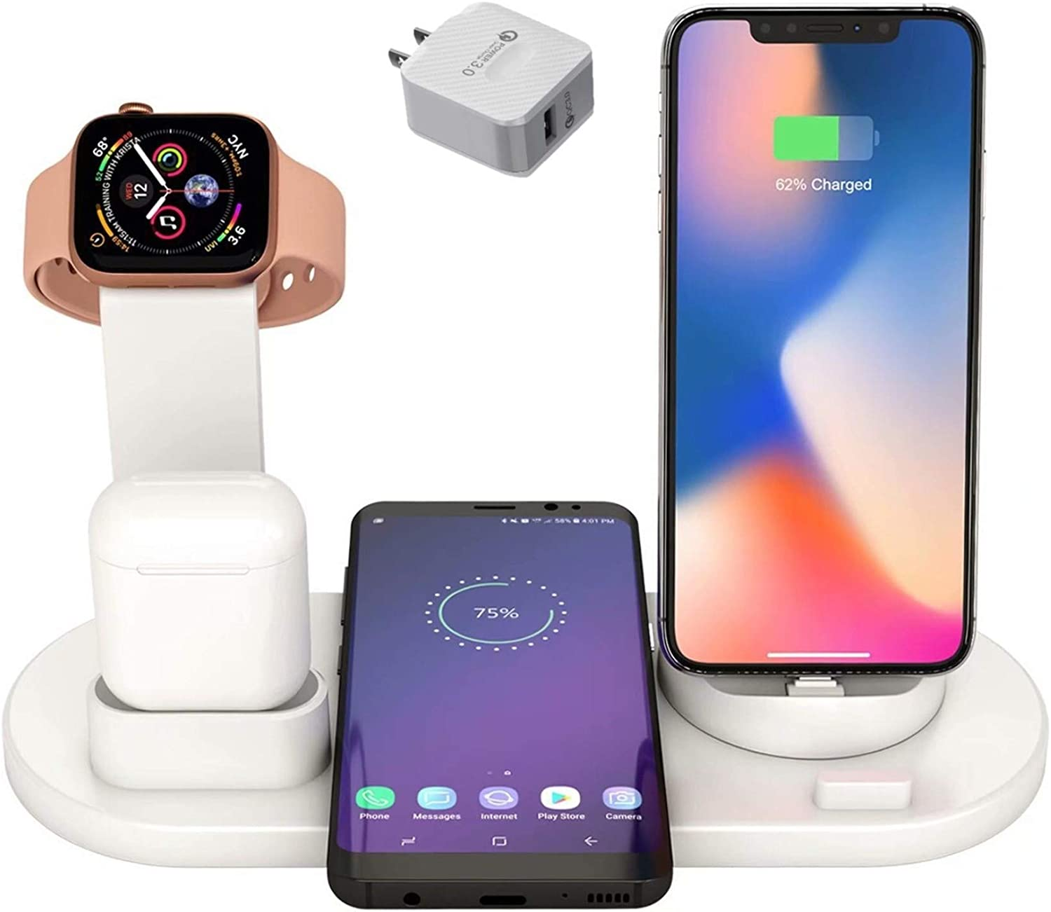 Hi Young Wireless Charger,Charging Station for Multiple Devices,4 in 1 Wireless Charging Dock Compatible with iPhone 8 8 Plus X XS XR Xs Max 11 11 Pro 12 iWatch 6 SE 5 4 3 2 1 Airpods Pro 2 1 (White)