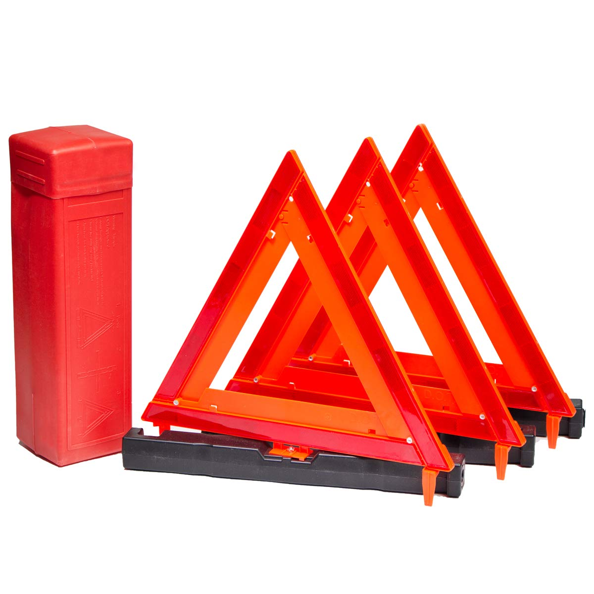 SpeedTech Lights 3 Pack Triangular Collapsible Traffic Safety Reflector for Roadside Safety Products & Equipment - Foldable Triangle Cone - Reflective Warning Road Safety Triangle Kit