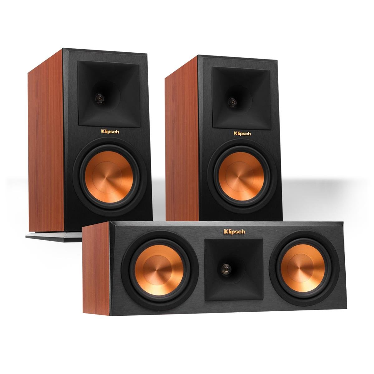 Klipsch RP-160M Reference Premiere Monitor Speakers Pair with RP-250C Center Channel Speaker (Cherry)