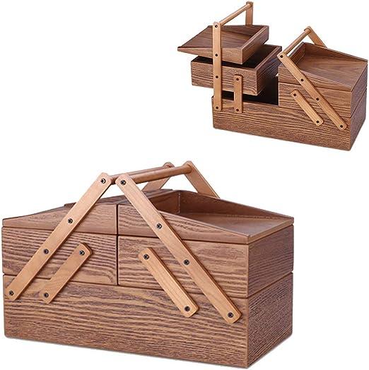 HM&DX Retro Caja joyero Organizador Madera,3 Capas Múltiples Funciones Joyería Caja de Almacenamiento Lonchera Caja del Tesoro-A: Amazon.es: Hogar