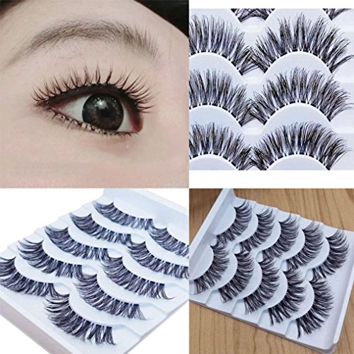 Vovomay Gracious Makeup Handmade 5Pairs Natural Long False Eyelashes, Extension Exquisite
