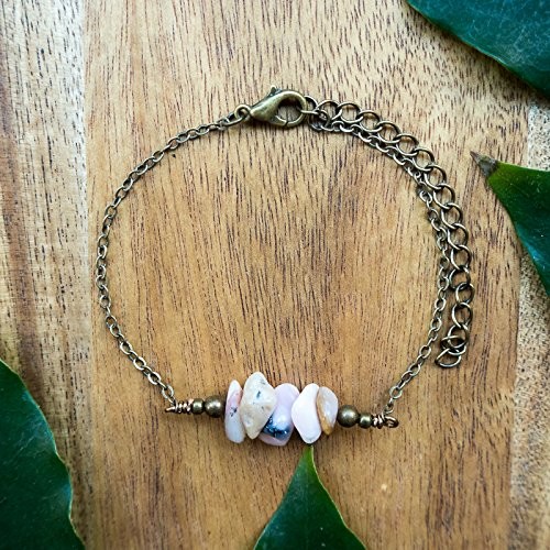 Pink Peruvian Opal bead bar crystal bracelet in bronze - 6