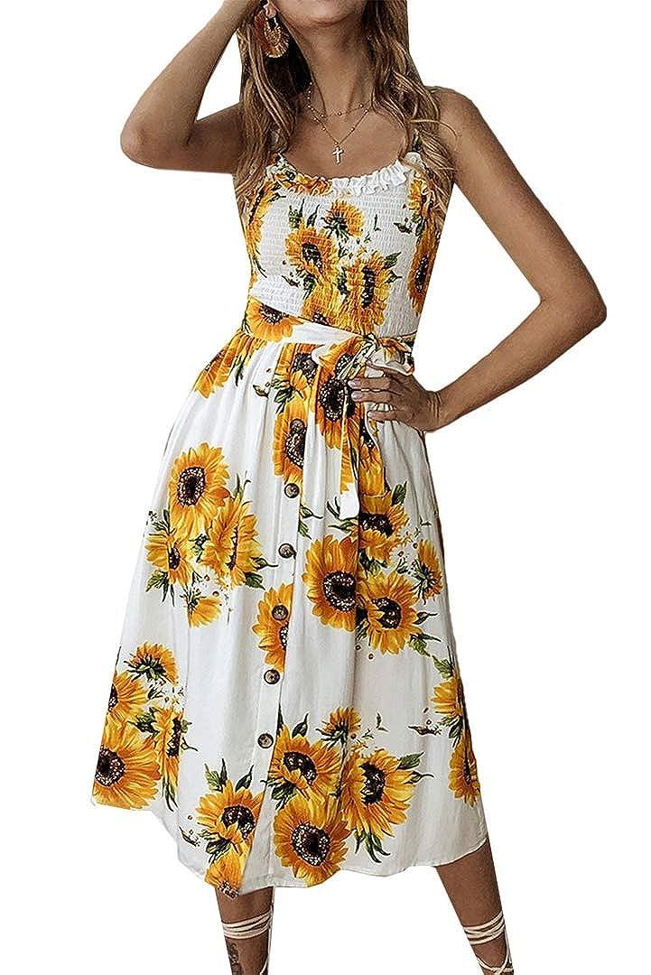 color6 Yoyoma Womens Sun Dresses Summer Sunfloral Print Spaghetti Strap Button Beach Casual Midi Dress