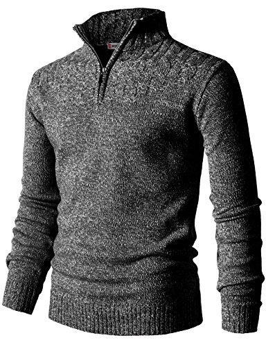 H2H Mens Casual Half Zip with Twisted Knitted Long Sleeve Pullover Sweater Black US 2XL/Asia 3XL (CMOSWL027) -