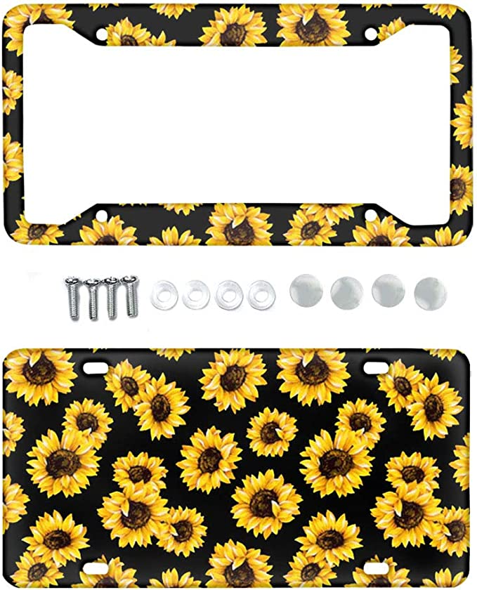 HUGS IDEA Heavy Duty Metal License Plate Frame Yellow Sunflowers Decorative Design for Any Vehicles,Weather Proof