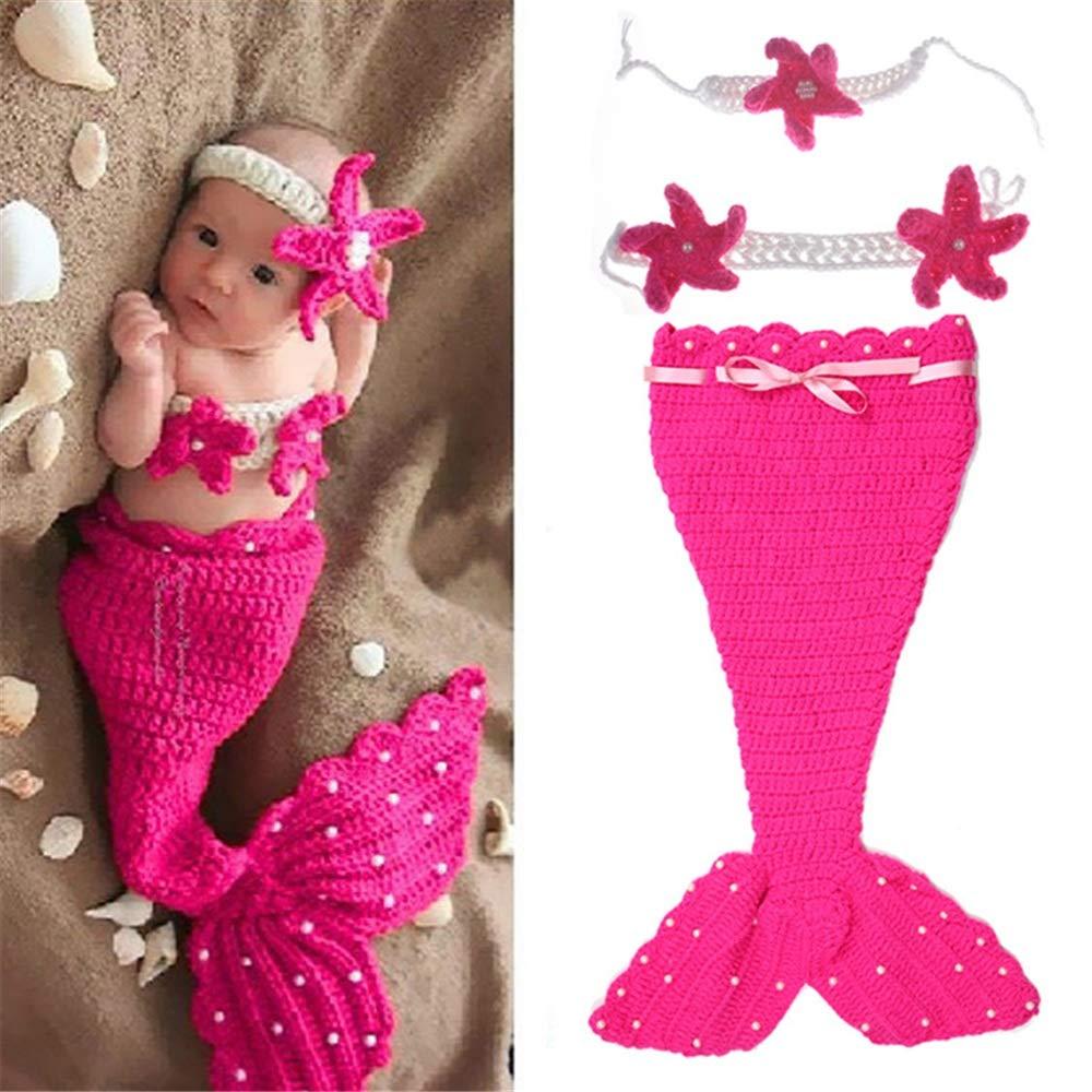 Zhongsufei Bebé recién Nacido Fotografía Prop Crochet Sirena Diadema Sujetador Sujetador Cola Rosa/Rosa Roja (Color : Rosa roja): Amazon.es: Hogar