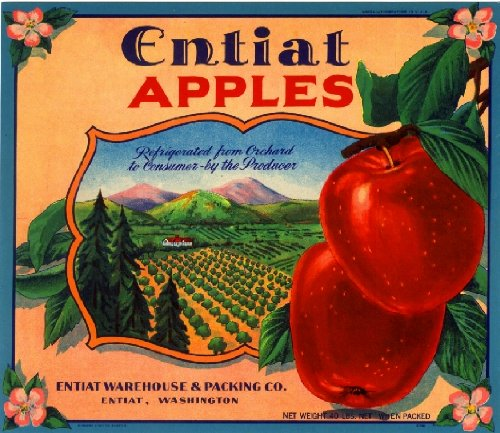 Apple Crate Label Art - A SLICE IN TIME Entiat Washington State Entiat Apple Fruit Crate Label Art Print