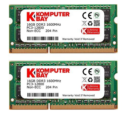 Komputerbay 32GB Dual Channel Kit 2x 16GB 204pin DDR3-1600 SO-DIMM 1600 PC3-12800 (1600MHz, ()