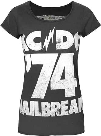 Amplified AC/DC Comics Jailbreak '74 Women's T-Shirt Charcoal