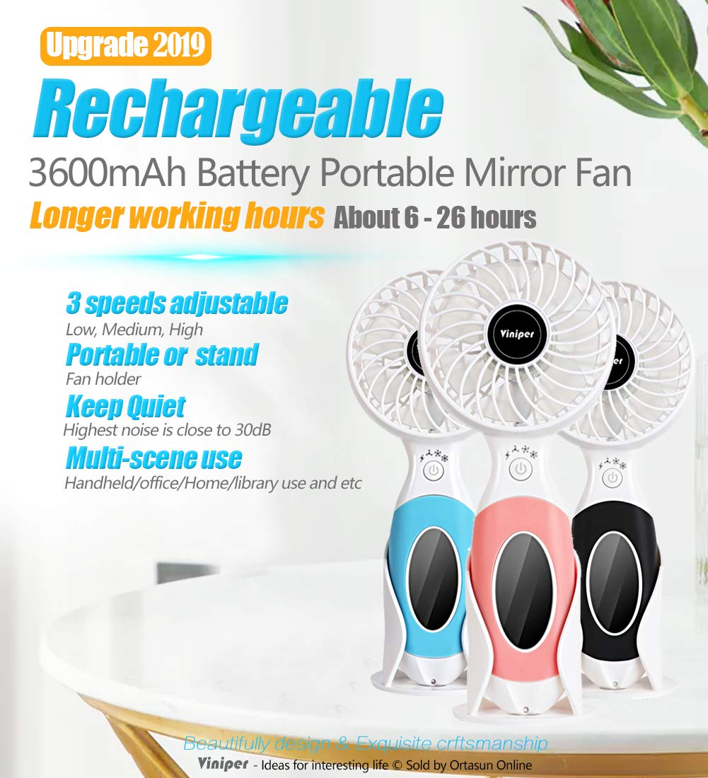 viniper Battery Handheld Fan, Portable Battery Operated Fan 3600mAh Rechargeable Adjustable 3 Speeds Mini Personal Electric USB Fan with Desk Stand for Home Office Travel Outdoor Black