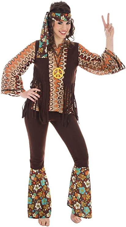 Chaks c4210s, disfraz hippie vintage mujer adulto, talla S: Amazon ...