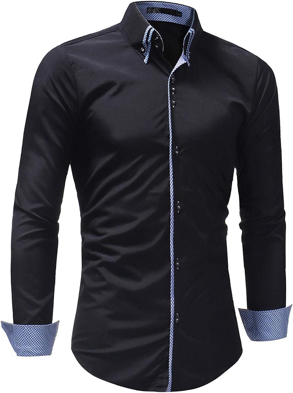 Male Shirt Long-Sleeves Tops Slim Casual Simple Mens Dress Shirts XXXL B68
