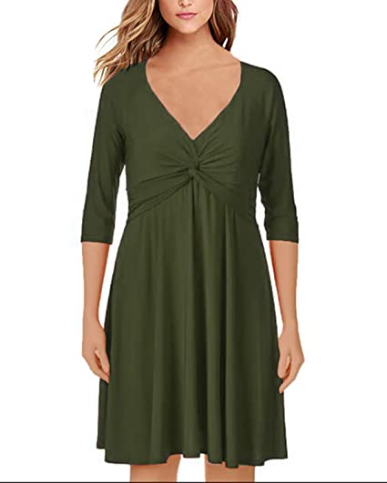 d534bef21f23 StyleDome Damen Langarm Kleid V O Ausschnitt Lose Casual Einfarbig Oversize  Pullover Swingkleid Lange Mini