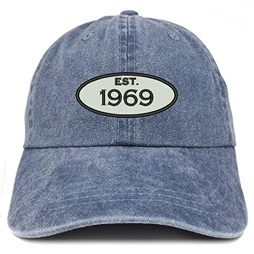 Trendy Apparel Shop Established 1969 Embroidered 50th Birthday Gift Pigment Dyed Washed Cotton Cap - Navy ()