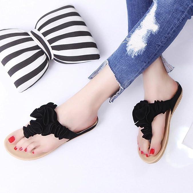 BeautyTop Femmes Plage D'éTé Tongs Chaussures Plates Jolie