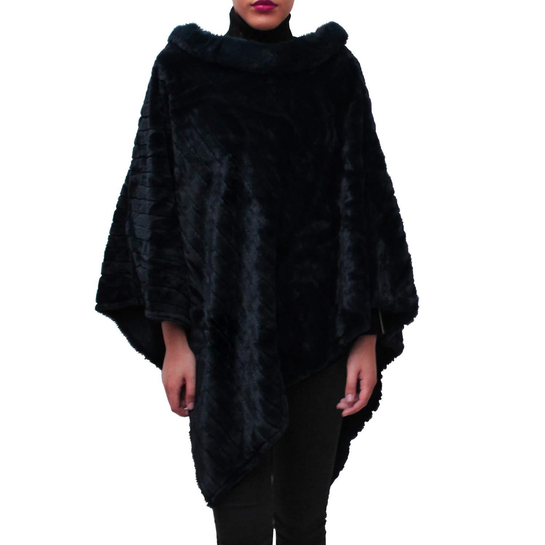 Glamexx24 Elegante Poncho in Pelliccia da Donna Felpe Cappotto con Girocollo