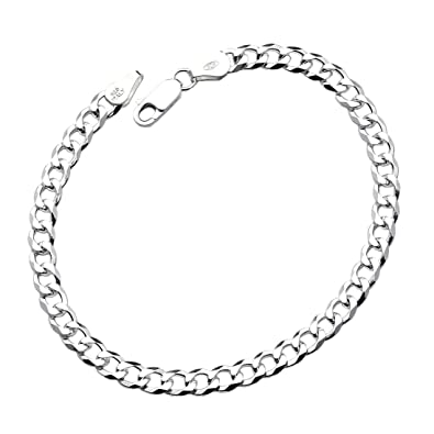 Amazon Com D Jewelry 925 Sterling Silver Flat Curb Chain Bracelet