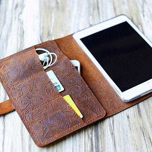 "Italy Tooled Leather Handmade Case for Apple Ipad mini 3/mini 2/mini 1/mini 4/air/air 2/Pro 9.7/Pro 10.5""/Pro 12.9/2017 iPad 9.7 Luxury Folio Cover (Brown Pattern)"