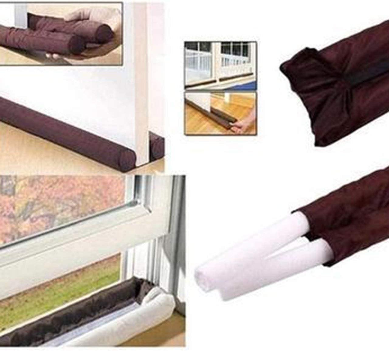 B2-4 Twin Draft Guard Dust Door Stop Door Cleaning Bar Door File Portable Durable Brown Color 1pcs HS Brown FRjasnyfall