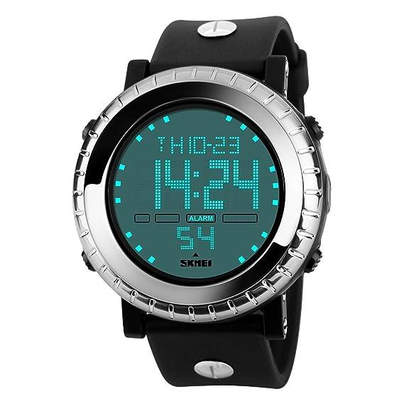 Farsler multifunción hombres 50M impermeable Big dial reloj digital alarma cronómetro natación buceo Deportes Wirst reloj