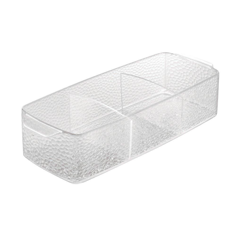 InterDesign Rain Organizador para cosméticos, caja de almacenaje de plástico con 3 compartimentos, transparente 47750