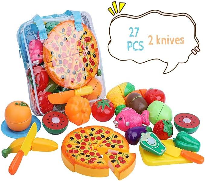Kingdommax la Cocina de la Comida del Juego del Corte Finge, Sistema del Juguete del Corte de la Cocina de la verdura de la Fruta plástica 27piece