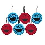 Jay Franco Sesame Street Elmo Cookie Squares Shower Curtain & 12-Piece Hook Set & Easy Use - Kids Bath Features Elmo & Cokie Monster