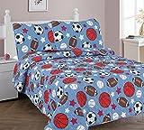 Elegant Home Blue White Brown Orange white Sports Football Basketball Baseball Soccer Design 3 Piece Coverlet Bedspread Quilt for Kids Teens Boys Full Size # Game Day 2 (Full)