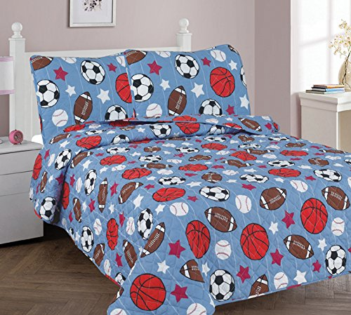 Elegant Home Blue White Brown Orange white Sports Football Basketball Baseball Soccer Design 3 Piece Coverlet Bedspread Quilt for Kids Teens Boys Full Size # Game Day 2 (Full)