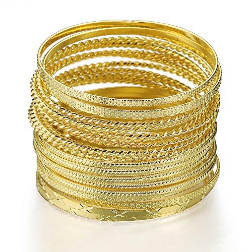 Ensoul Fashion Gold Color Mixed Metal Textured Multiple Bangles&Bracelets Set 23pc/Set 2.68