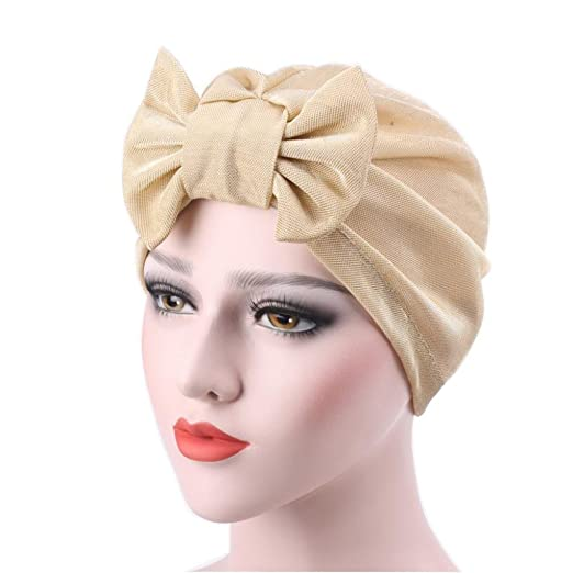 Qingfan Women Solid Bow Pre Tied Cancer Chemo Hat Beanie Turban Stretch Head Wrap Cap (