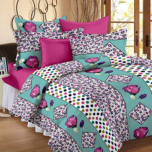 Story@Home Magic Premium Cotton 152 TC 100 % Floral Double Bedsheet with 2 Pillow Covers