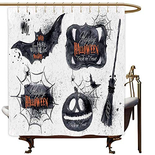MaryMunger Bathroom Curtains Vintage Halloween Halloween Symbols Happy Holiday Witch Lives Here Broomstick Spider Web Bathroom Decoration W72x72L Black White ()