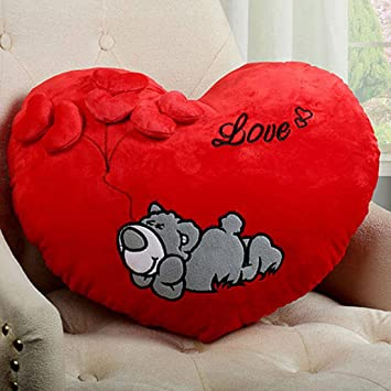 Minitrees Best Heart Shaped Sleeping Dog Printed with Cute Little Hearts Pillow