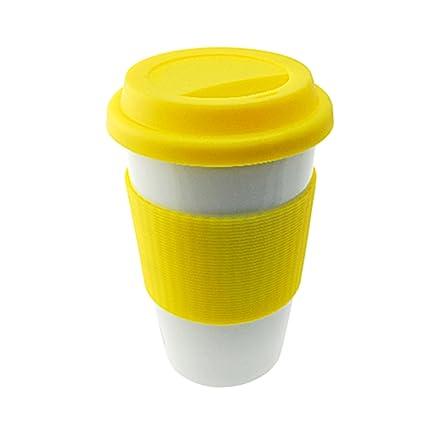 Amazon.com | Gourmet Art Double Wall Ceramic Mug, Yellow: Tumblers ...