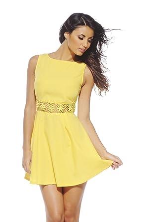 4732daff84 AX Paris Women's Crochet Waist Skater Yellow Dress at Amazon Women's ...