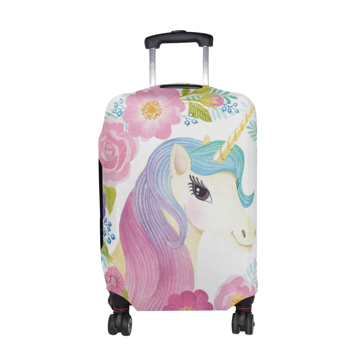 Cooper girl Unicorn Flowers Rose Travel Luggage Cover Suitcase Protector Fits 23-26 Inch