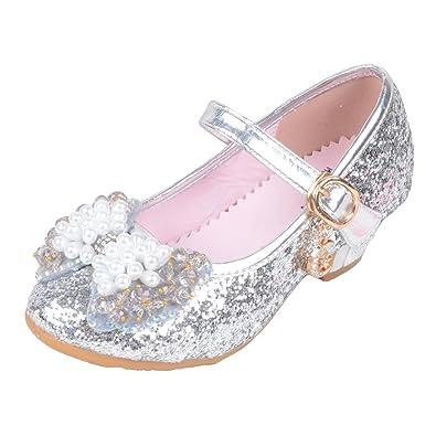 3894371fecde Yy.f YYF Fille Ballerine Chaussures avec Nœud Papillon Paillettes pour  Enfant Fille