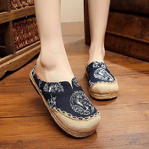 CHNHIRA Couples Vintage Linen Trachinoid Embroidered Porcelain Classic Straw Bale With Hand-Stitched Large Pair Slippers Dark Blue IbUIqS6Zf